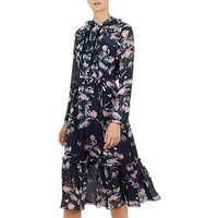 Ted Baker Traeecy Narrnia Dip Hem Midi Dress, Navy