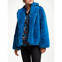 SUNCOO Emmy Faux Fur Coat, Blue Canard