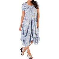 Chesca Floral Drape Dress, Blue/purple