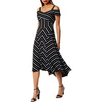 Karen Millen Cold-Shoulder Midi Dress, Black/White