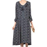 Jolie Moi Frill V Neck Floral Print Midi Dress, Navy/Multi