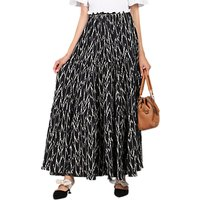Jolie Moi Tiered Maxi Skirt, Black/Multi