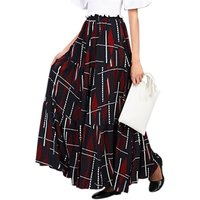 Jolie Moi Tiered Maxi Skirt, Black Leafy