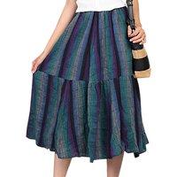 Jolie Moi Tiered Midi Skirt, Blue/Multi