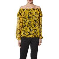 Gina Bacconi Floral Chiffon Print Top, Yellow