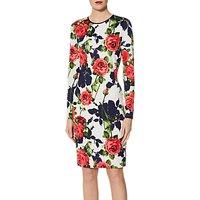 Gina Bacconi Kinga Floral Scuba Print Dress, White/Multi