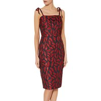 Gina Bacconi Alissa Jacquard Dress With Tie Straps, Red/Navy