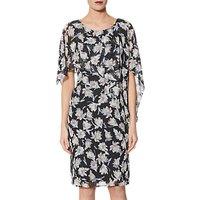 Gina Bacconi Chiffon Print Dress, Black/Grey