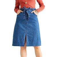 Yumi A-Line Denim Skirt, Navy