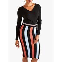 Yumi Striped Pencil Skirt, Black