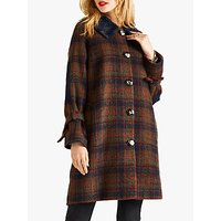 Yumi Faux Fur Check Coat, Navy