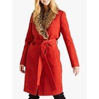 Yumi Faux Fur Wrap Coat, Burnt Orange