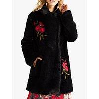 Yumi Faux Fur Coat, Black