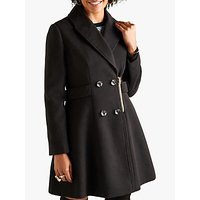 Yumi Zip Detail Pea Coat, Black