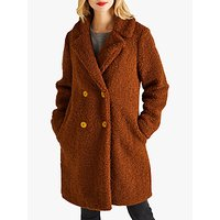 Yumi Double Breasted Teddy Coat, Brown