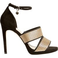 Karen Millen Strap Stiletto Heel Sandals, Black/Gold