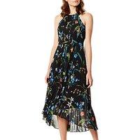 Karen Millen Floral Midi Dress, Black/Multi