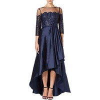 Adrianna Papell Embroidered Panel Waterfall Dress, Midnight Blue