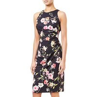 Adrianna Papell Sheath Ruche Floral Dress, Black/Multi