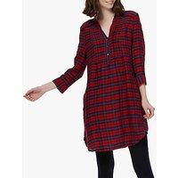 Brora Plaid Check Pintuck Tunic Dress, Navy/red