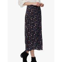 Brora Floral Print Silk Chiffon Skirt, Raven/Ruby