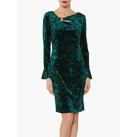 Gina Bacconi Cecilia Crushed Velvet Dress, Velvet Dark Green