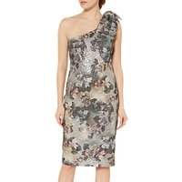 Gina Bacconi One Shoulder Bow Dress, Antique