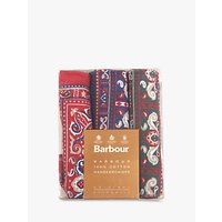 Barbour Boxed Paisley Handkerchiefs, Pack Of 3, Red/green/navy