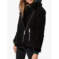 Selected Femme Victoria Faux Fur Collar Suede Jacket, Black