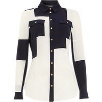 Damsel In A Dress Nia Patchwork Shirt, Navy/ivory