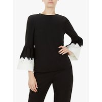 Ted Baker Amonie Fluted Sleeve Lace Trim Top, Black