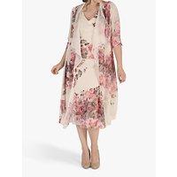 Chesca Floral Print Chiffon Coat, Apricot