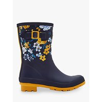 Joules Molly Waterproof Mid Wellington Boots, Navy Botanical
