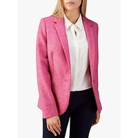 Pure Collection Tailored Textured Blazer, Pink Herringbone