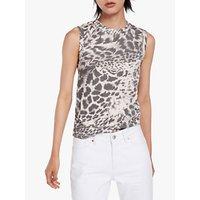 Allsaints Imogen Animal Paw Print Vest Top, Porcelain White