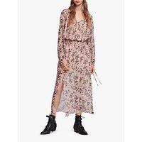 Allsaints Chesca Petal Long Dress, Pink Nude