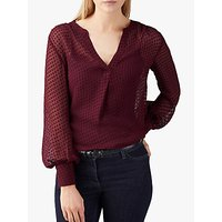 Pure Collection Silk V-Neck Textured Blouse, Rich Burgundy