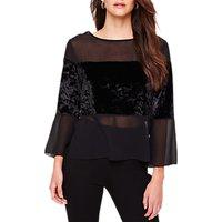 Damsel in a Dress Adonia Velvet Panel Sheer Blouse, Black