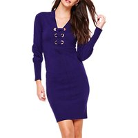 shop for Damsel in a Dress Elora Tie Front Knit Dress, Deep Purple at Shopo
