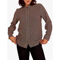 Gerard Darel Chemise Geometric Spot Silk Shirt, Burgundy