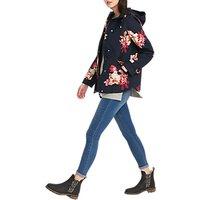 Joules Floral Print Waterproof Hooded Jacket, Navy/Multi