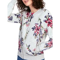 Joules Millie Jersey Bomber Jacket, Grey Marl