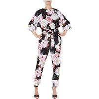 Ted Baker Neptone Iguaza Kimono Sleeve Floral Jumpsuit, Black