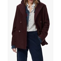 Brora Boiled Wool Pea Coat, Bordeaux