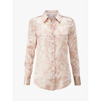 Pure Collection Silk Satin Blouse, Champagne Paisley