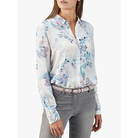 Pure Collection Washed Silk Blouse, Blue Soft Floral