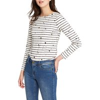 Joules Harbour Star Striped Jersey Top, Grey