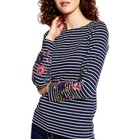 Joules Harbour Embroidered Jersey Top, French Navy