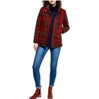 Joules Fieldcoat Tweed Coat, Red Check Tweed