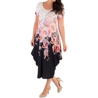 Chesca Floral Drape Dress, White Ivory